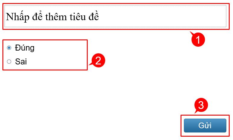 một câu hỏi e-Learning điển hình bao gồm 3 phần chính