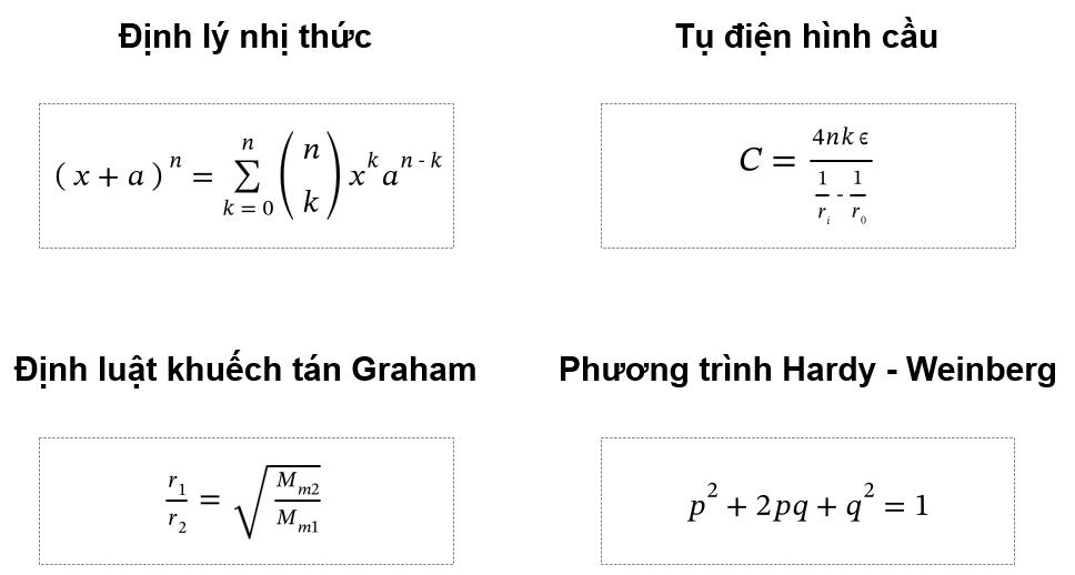 4 Phương trình: Toán, Lý, Hóa, Sinh
