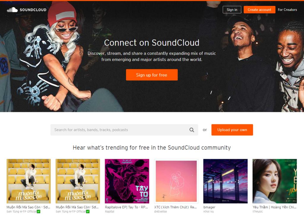 Thư viện nhạc nền miễn phí & không bản quyền ấn tượng: SoundCloud
