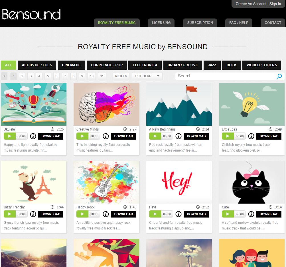 Thư viện nhạc nền miễn phí & không bản quyền Bensound