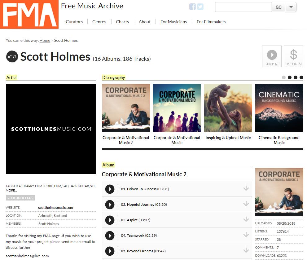 Thư viện nhạc nền miễn phí Free Music Archive