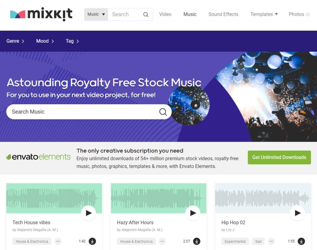 Thư viện nhạc nền miễn phí Mixkit