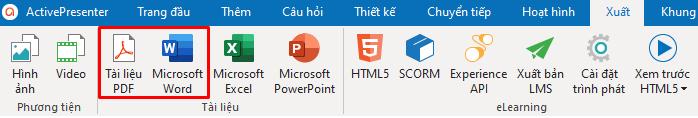 Xuất bài giảng ra định dạng Microsoft Word hoặc PDF