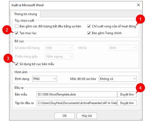 Xuất bài giảng ra Microsoft Word