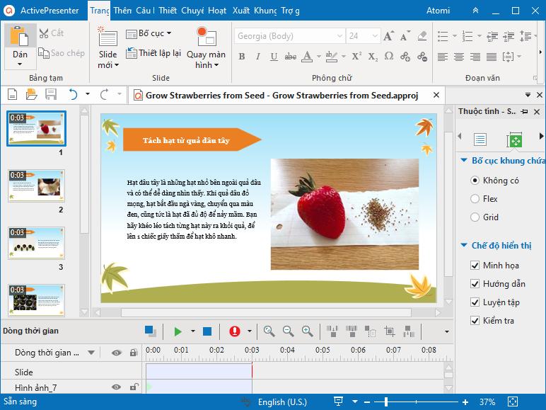 tạo hướng dẫn trồng dâu tây bằng cách thêm đối tượng vào slide