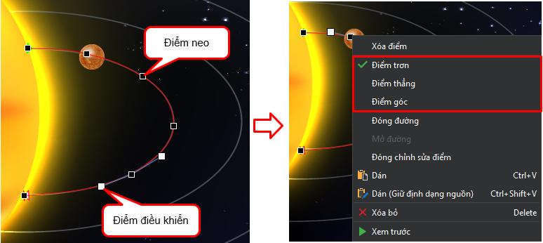 Tùy chỉnh quỹ đạo chuyển động