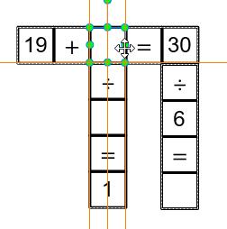 Đặt đối tượng Văn bản lên trên ô trống trong trò chơi ô chữ toán học